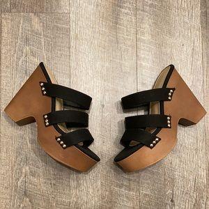 Shoedazzle black canvas platform sandals size 8